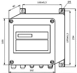Габаритные размеры ИВБ теплосчетчика ТЭМ-106