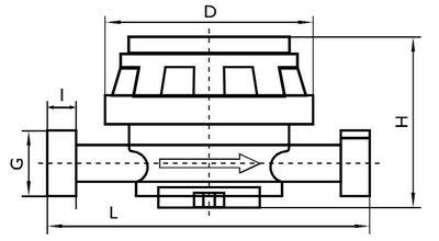 Габаритные размеры счетчиков воды ВСГ, ВСГд, Ду 15, 20