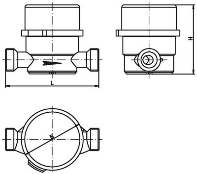 Габаритные размеры счетчиков воды СВ-15Г, СВ-15Х