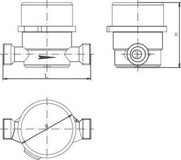Габаритные размеры счетчика воды СВУ-15 НЕПТУН