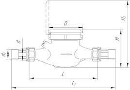 Габаритные размеры счетчиков воды ВКМ-15, ВКМ-20 Росич