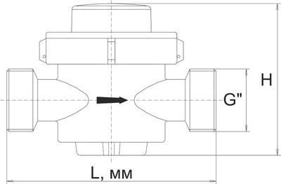 Габаритные размеры счетчиков воды СВ-25,-32,-40
