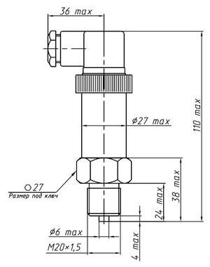 Габаритные размеры датчиков ДМ5007-ДИ