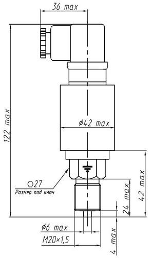 Габаритные размеры датчиков ДМ5007А-ДИ, ДА, ДВИ