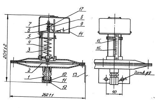 Габаритные размеры датчика-реле давления ДРД-1,0