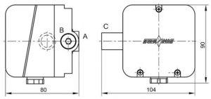 Габаритные размеры датчиков-реле давления ДРД-Т