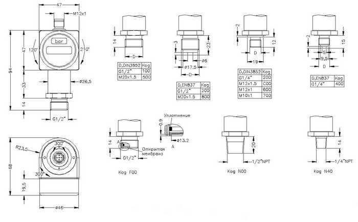 Габаритные размеры датчика-реле давления ДС-200 (ДС200)