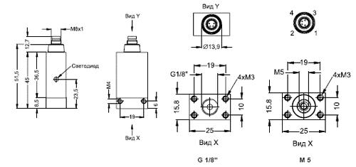 Габаритные размеры датчика-реле давления DS 4