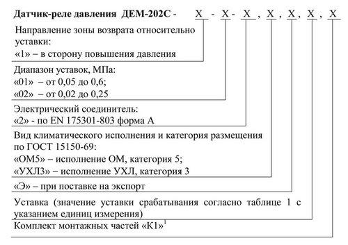 Структура обозначения при заказе ДЕМ-202С-1