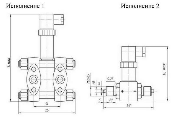 Габаритные размеры датчиков разности давления МТ101-М1/М/Э-Д1/Д2
