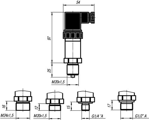 Габаритные размеры датчиков ПД100-ДИ/ДВ/ДИВ/ДА без индикации