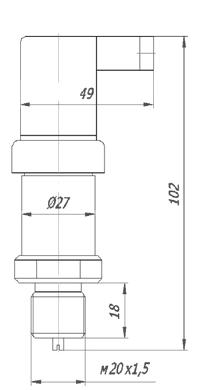 Габаритные размеры датчика давления ПДТВХ-1