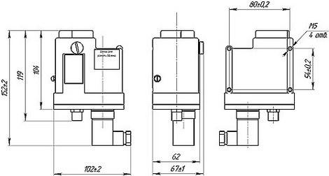 Габаритные размеры датчиков-реле давления ДЕМ-102-РАСКО