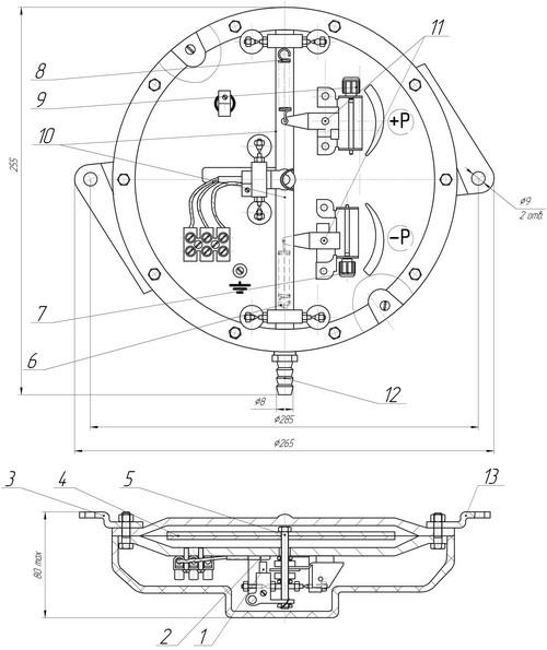 Габаритные размеры датчика-реле ДЕМ-107