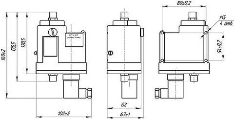 Габаритные размеры датчика-реле ДЕМ-202-РАСКО