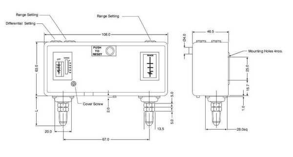 Габаритные размеры сдвоенного реле давления РД-1-630