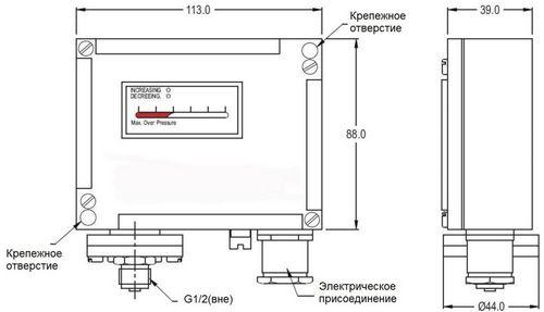 Габаритные размеры реле давления РД-6