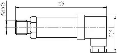 Габаритные размеры датчиков давления ДДМ-03-(ДИ,-ДА,-ДВ)