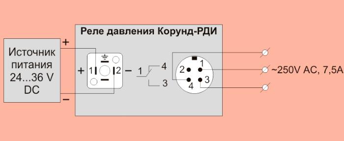 Схема. Корунд-ДД-Н-Р датчик-реле разности давления.