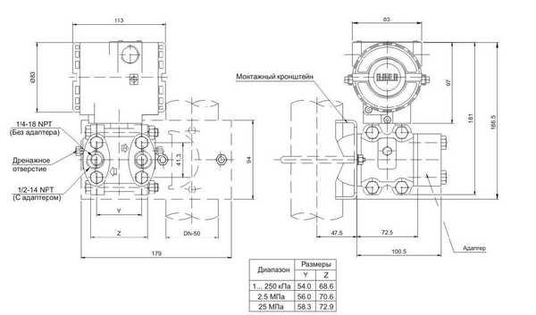 Габаритные размеры датчиков DMD-331-A-S