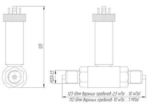 Габаритные размеры датчика ЗОНД-10-ДД-1175Т