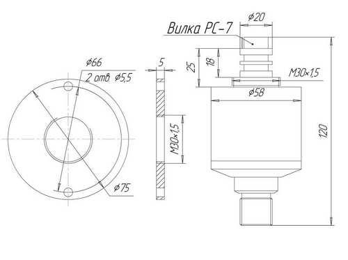 Габаритные размеры погружного датчика уровня ЗОНД-10-ГД-1220