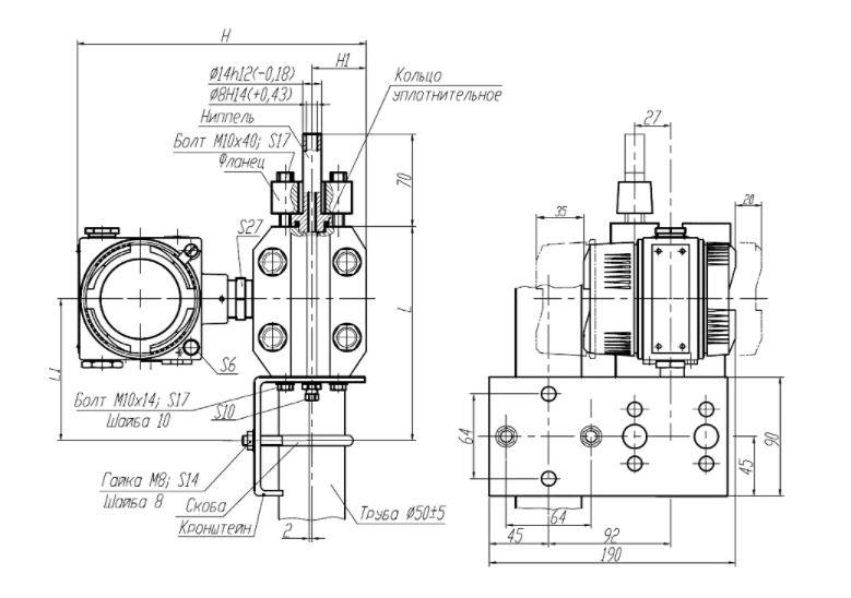 Рисунок 1 - вариант крепления преобразователя Сапфир-22МП-ВН на трубе