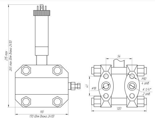 Габаритные размеры датчика перепада давления ЗОНД-10-ДД-1175,-1175м