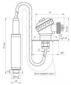 Габаритные размеры датчика уровня ЗОНД-10-ГД-1210