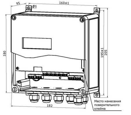 Габаритные размеры ИВБ теплосчетчика ТЭМ-116