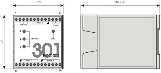 Габаритные размеры передающего преобразователя ППР РОС-301-DIN