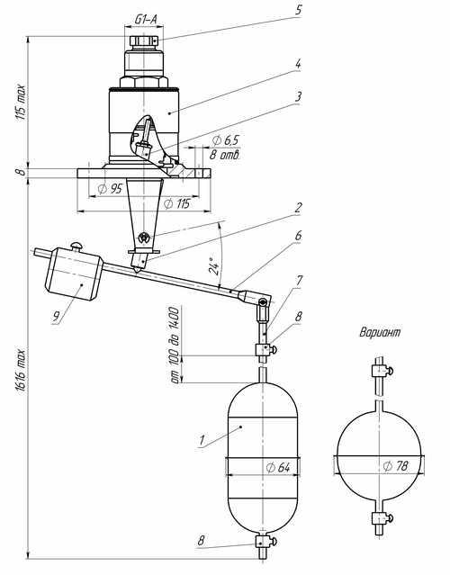 Габаритные размеры датчиков-реле уровня РОС-401-2