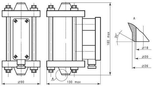 Габаритные размеры первичного преобразователя РОС-501
