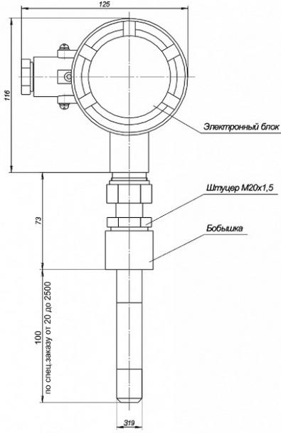 Габаритные размеры сигнализатора СУЖ-К