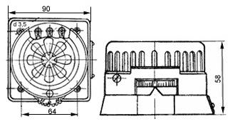 Габаритные размеры датчика-реле температуры ДТКБ