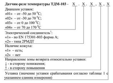 Форма заказа датчика-реле температуры ТДМ-103