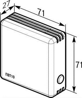 Габаритные размеры датчика влажности и температуры воздуха ПВТ10