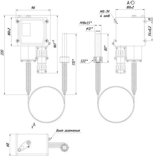 Габаритные размеры датчика-реле температуры ТДМ-102