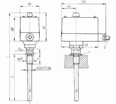 Габаритные размеры терморегулятора ТУДЭ-М1