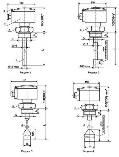 Габаритные размеры-1 разных датчиков для уровнемера ИСУ-100МИ