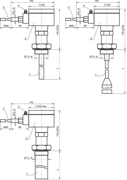 Габаритные размеры преобразователя уровня ПУМА-100