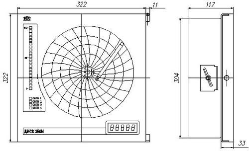 Габаритные размеры регистратора ДИСК-250М