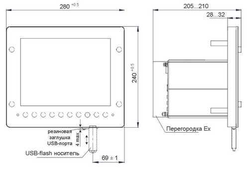Габаритные размеры регистратора Элметро-ВиЭР-104К-Ex (взрывозащищенное исполнение)