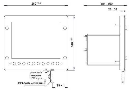 Габаритные размеры регистратора Элметро-ВиЭР-104К (общепромышленное исполнение)