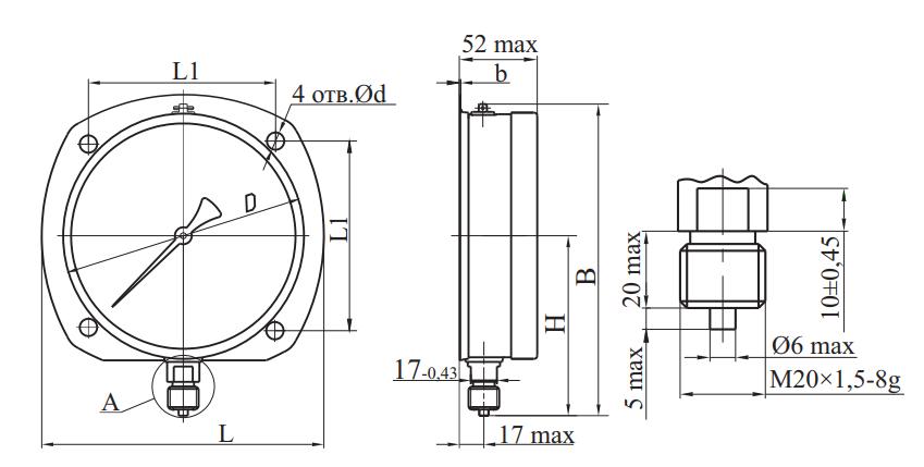 МП4А-Кс радиальный штуцер задний фланец