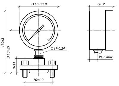 Габаритные размеры манометра МТП-100/1-ВУМ