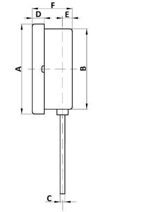 Габаритные размеры термометра ТБ-рос с радиальным присоединением
