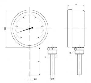 ТБП-63,100,160 термометр резьбовой и без резьбовой, биметаллический