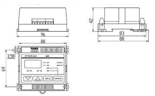 ЭРКОН-224 габаритно-монтажные размеры