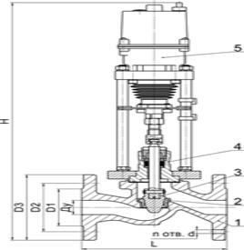 Схема. Регулирующий клапан РК